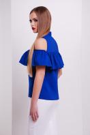персиковая блузка с воланом. блуза Калелья б/р. Цвет: электрик купить