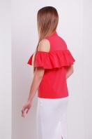 персиковая блузка с воланом. блуза Калелья б/р. Цвет: коралл купить