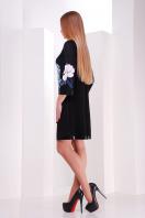 черное платье А-силуэта с цветочным принтом. Магнолии платье Тая-3ФК д/р. Цвет: принт-кожа отделка купить