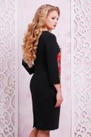 большое черное платье с цветочным принтом. Розы платье Калоя-2Б д/р. Цвет: принт купить