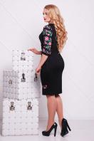 нарядное платье с цветами для полных. Цветы-орнамент платье Андора-Б д/р. Цвет: черный купить