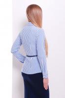 рубашка в полоску для работы. блуза Рубьера д/р. Цвет: белый-голубая полоска купить