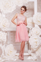 коктейльное мятное платье до колен. платье Настасья б/р. Цвет: персик купить