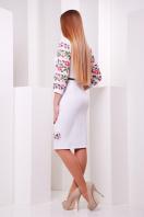 нарядное платье с цветами для полных. Цветы-орнамент платье Андора-Б д/р. Цвет: белый купить