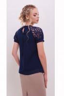 белая шифоновая блузка. блуза Ильва к/р. Цвет: темно синий купить