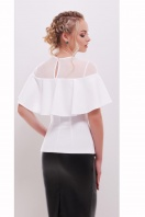 белая летняя блузка с воланом. блуза Сонья б/р. Цвет: белый купить