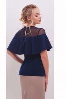 белая летняя блузка с воланом. блуза Сонья б/р. Цвет: темно синий купить