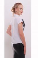 белая женская блузка с принтом. Узор черный блуза Элина б/р. Цвет: принт купить
