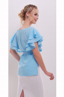 белая блузка с открытыми плечами. блуза Бьянка к/р. Цвет: голубой купить
