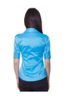 Зеленая блузка классического кроя с коротким рукавом. блуза Эстель к/р. Цвет: голубой