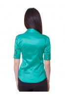 Красная блузка классического кроя с коротким рукавом. блуза Эстель к/р. Цвет: зеленый