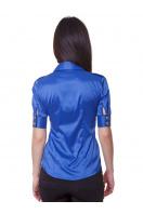 Зеленая блузка классического кроя с коротким рукавом. блуза Эстель к/р. Цвет: синий