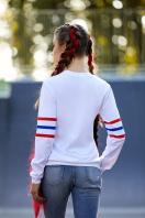 спортивный женский свитшот. Girls кофта Свитшот №3Ф (весна) д/р. Цвет: принт-белая отделка купить