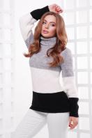 трехцветный вязаный свитер. Свитер 145. Цвет: т.серый-молоко-черный купить