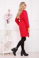 бордовое пальто с накладными карманами. пальто П-301-90. Цвет: красный цветок цена