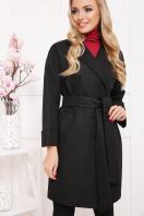 бордовое пальто с накладными карманами. пальто П-301-90. Цвет: черный цветок купить