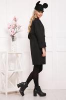 бордовое пальто с накладными карманами. пальто П-301-90. Цвет: черный цветок цена