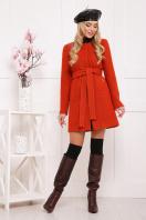 красное пальто без воротника. пальто П-337ш. Цвет: терракот купить