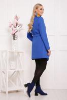 ярко-синее пальто без воротника. пальто П-337. Цвет: электрик горох цена