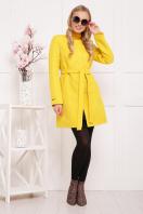 черное пальто на весну. пальто П-337. Цвет: желтый горох купить