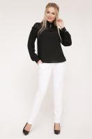 белая блузка с кружевом. блуза Джустина д/р. Цвет: черный купить