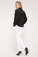 белая блузка с кружевом. блуза Джустина д/р. Цвет: черный цена