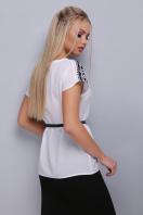 черно-белая блузка с поясом. Орнамент черный блуза Мира б/р. Цвет: принт купить