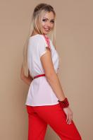 красно-белая блузка с поясом. Орнамент красный блуза Мира б/р. Цвет: принт купить