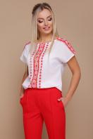 красно-белая блузка с поясом. Орнамент красный блуза Мира б/р. Цвет: принт цена