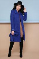бордовое пальто с английским воротником. пальто П-319. Цвет: 1303-синий цена
