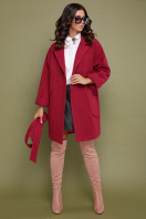 бордовое пальто с накладными карманами. пальто П-301-90. Цвет: 120-малина купить