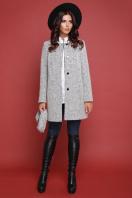 терракотовое пальто без воротника. пальто П-337ш. Цвет: 1502-св.серый купить