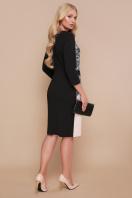 платье больших размеров с кружевом. Узор черный платье Ксена-Б д/р. Цвет: бежевый цена