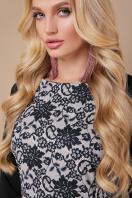 платье больших размеров с кружевом. Узор черный платье Ксена-Б д/р. Цвет: бежевый в интернет-магазине