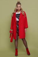 бордовое пальто с накладными карманами. пальто П-301-90. Цвет: 1201-красный купить