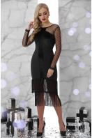 черное платье с бахромой. платье Багира д/р. Цвет: черный цена
