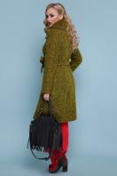 горчичное пальто с меховой опушкой. пальто П-316-100 зм. Цвет: 1222-карри купить