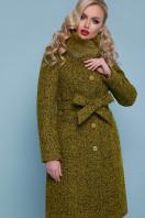 горчичное пальто с меховой опушкой. пальто П-316-100 зм. Цвет: 1222-карри цена
