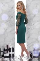 изумрудное платье с прозрачными рукавами. платье Розана д/р. Цвет: изумруд купить