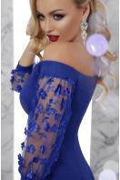изумрудное платье с прозрачными рукавами. платье Розана д/р. Цвет: электрик цена