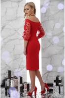 платье красного цвета с открытыми плечами. платье Розана д/р. Цвет: красный купить