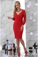 черное платье с кружевными рукавами. платье Флоренция д/р. Цвет: красный купить
