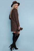 ярко-синее пальто без воротника. пальто П-337. Цвет: 1224-коричневый купить