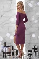 сиреневое платье с открытыми плечами. платье Амелия д/р. Цвет: т. сиреневый купить