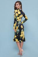 платье с цветочным принтом и воланом внизу. Тюльпаны желтые платье Фаина д/р. Цвет: черный в интернет-магазине