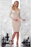 бежевое платье с декольте. платье Патриция д/р. Цвет: св. бежевый купить
