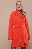 бежевое полупальто с капюшоном. пальто П-3к. Цвет: оранжевый цена