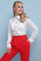 . блуза Эвита д/р. Цвет: белый-красная отделка в интернет-магазине