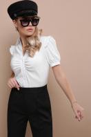 голубая блузка с рюшами. блуза Маргарита к/р. Цвет: белый в интернет-магазине