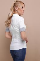 деловая белая блузка. блуза Мила к/р. Цвет: белый-серая м.полоска купить